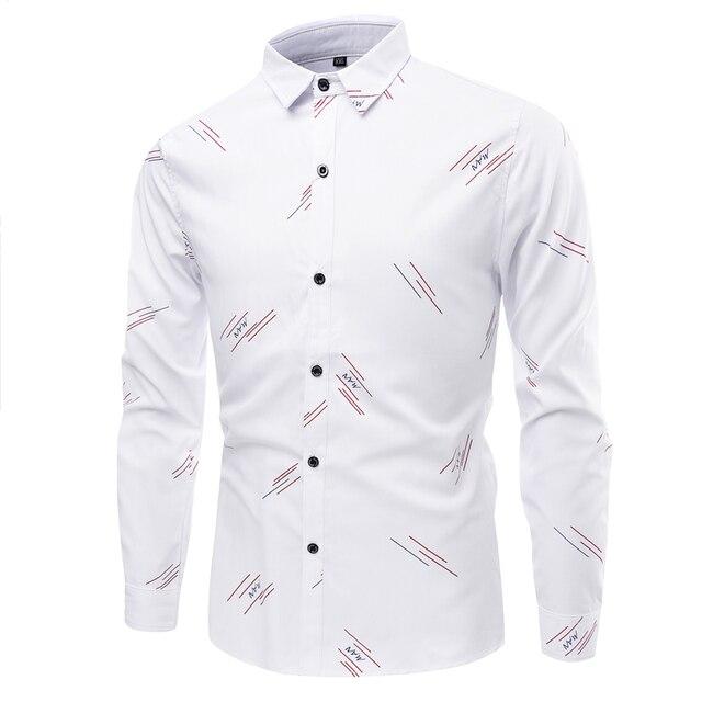 Плюс Размер Новых Людей Рубашки Платья Сорочка Высокое Качество Повседневная Мода Тонкий Печати Мужчины Рубашку Camisa Masculina XXXL