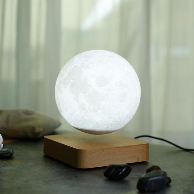 Magnetic Rotation Levitating 3D Moon Lamp - Lamps & Lighting