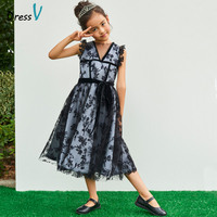 Dressv black sleeveless flower girl dress jewel neck zipper up tea length wedding party formal dress lace flower girl dresses