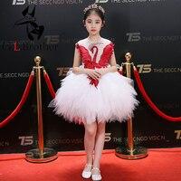 Лебедь Дизайн для девочек в цветочек платья Белое Бальное Платье принцессы вечернее платье для выпускного вечера вечерние Бисер до колена