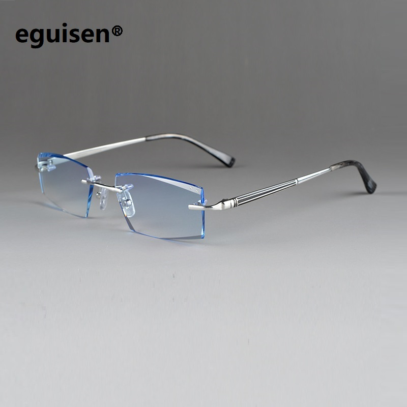 Spectacle glasses assembling TR titanium gradient color MR-8 lenses men male rimless myopia Finished prescription glasses lentes