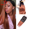 7A Brazilian Virgin Hair With Closure 1B/33 Brazilian Straight Hair Bundles With Lace Closures Ombre Brazilian Hair With Closure