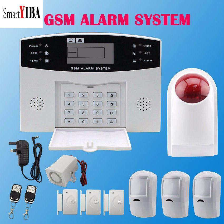 SmartYIBA LCD Display Home Security GSM Alarm System With 99 Wireless Zone 7 Wired Zone Wireless Flash siren Russian Spanish free shipping 101 zone 99 wireless zone and 2 wired quad band lcd home security pstn gsm alarm system 850 900 1800 1900mhz