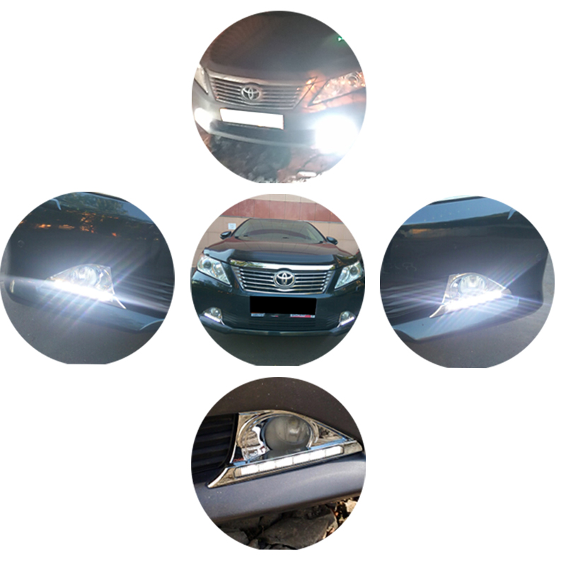 SUNKIA Car Styling LED DRL for Toyota Camry 2012-2014 Daytime Running Lights Day Lamp with Turn Signal Dimmed Function Relay