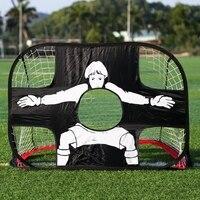 2 in 1 Soccer Goal Portable Soccer Net Durable Polyester Mesh Frame Kids Soccer Training Target