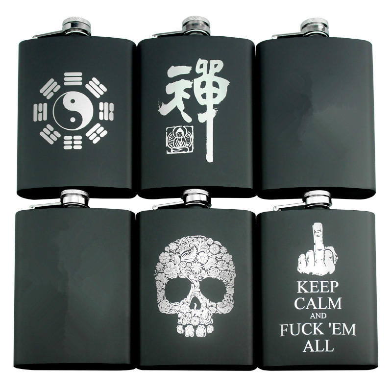 Optional 8 OZ 234 ML Personalized Hip Flask Metal Stainless Steel Whisky Vodka Alcohol Flask Portable Outdoor Alcohol Drinkware
