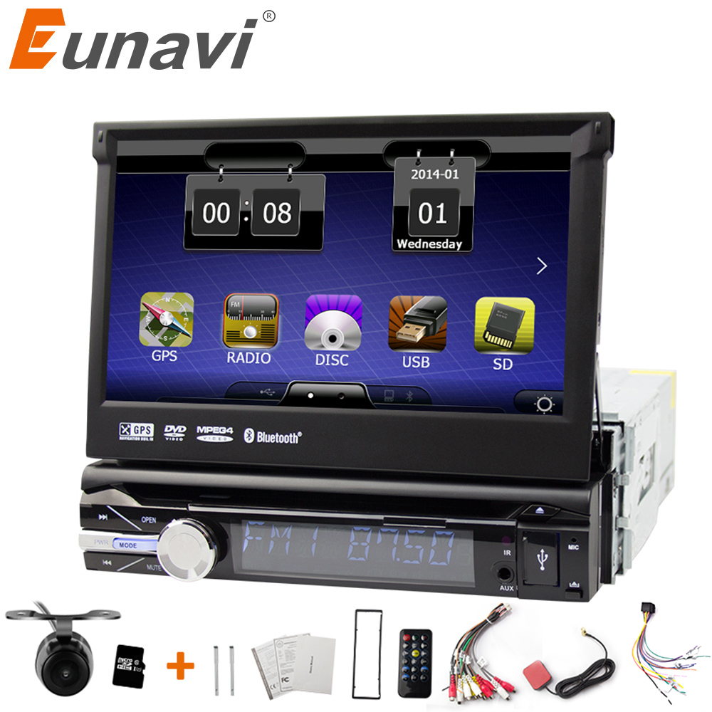 Eunavi Universal 1 Din 7'' Car DVD Player Radio GPS Navi Autoradio Stereo with Bluetooth Automotivo USB RDS Aux CD touch screen eunavi 7 2 din android 7 1 8 1 car dvd player radio multimedia gps navi for toyota rav 4 rav4 audio stereo 2din rds wifi usb