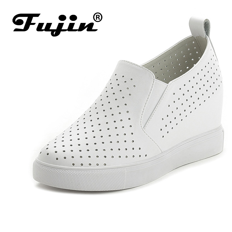 Fujin Brand 2017 Summer Autumn Women genuine leather wedge shoes breathable platform pumps with wedges heel white female pumps best selling european genuine leather super high heel wedge slippers women floral wedge pumps summer shoes 4 color ml2063