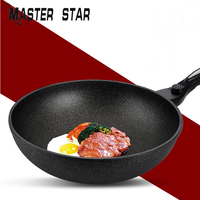 Master Star 30CM Chinese Medical Stone Wok For Kitchen Aluminum Non stick Cookware General Use For Gas And Induction Cooker