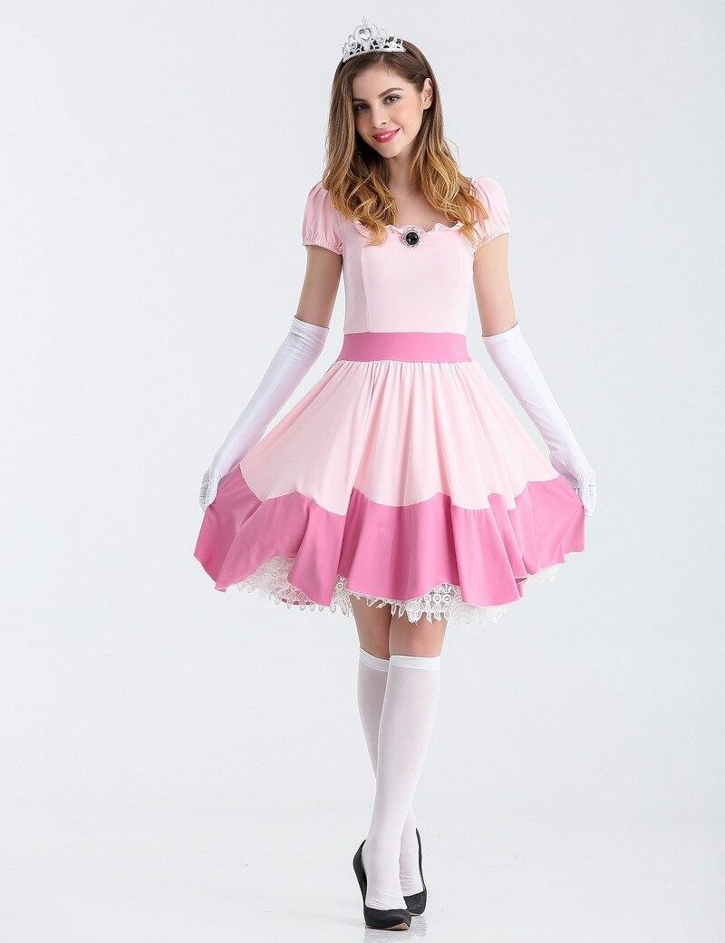 Fancy Halloween sexy Costumes Womens Princess peach hot selling super Mario Costume Maids Dress Cosplay Women