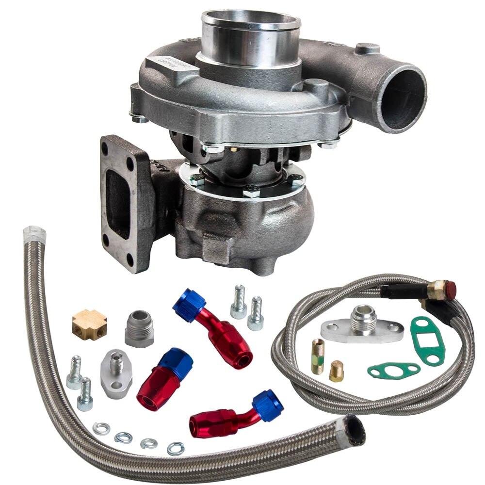 T3/t4 t04e. 57 a/r desempenho turbocompressor + óleo feed & retorno linha kit 300 + hp óleo de refrigeração turbo para 1.6 2.5l wastegate interno - 2