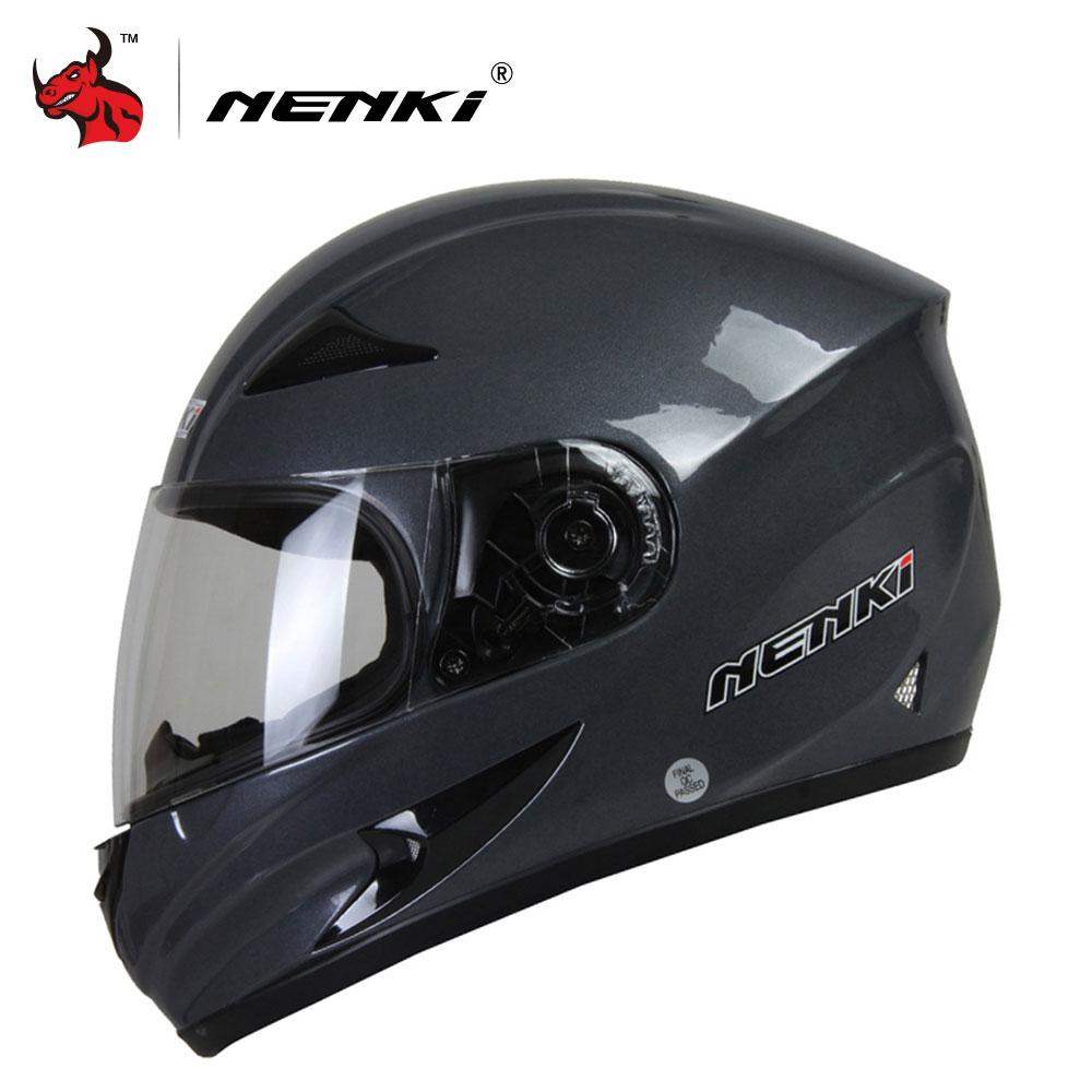 NENKI Mens Motorcycle Helmets Skull Printing Full Face Riding Helmet Clear Lens Shield Helmet Capacete De Moto