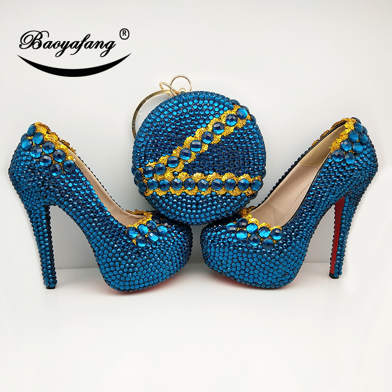 Turquoise Wedding Heels: BaoYaFang New Turquoise Blue Crystal Womens Wedding Shoes