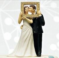 Freies verschiffen 2017 Großhandel Bilderrahmen Liebe Paar Lustige Figurine Hochzeitstorte Topper