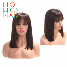 WoWigs Human Hair Glueless Lace Front Wigs Bob With Bangs wigs Remy Natural Hairline Baby Frontal Wig