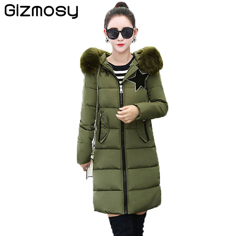 Winter Coat Women Warm Cotton Parka Fur Collar Hooded Jacket Female Thicken Coat Long Cotton-Padded Casual Outwear BN1045 bjcjwf 2017 winter jacket women wadded long parkas female outerwear hooded coat cotton padded fur collar parka thicken warm 1pc