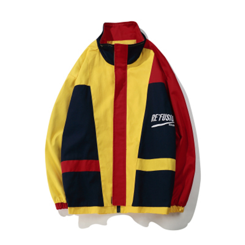 2019 New Vintage Color Block Track Jacket Autumn Thin Streetwear Hip Hop Trench Coats Oversized Style Full Zipper Coat