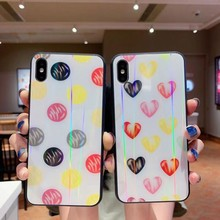 For iPhone 7 8 6 6s plus Case Tempered Glass Laser Phone Cover For iPhone xs max x xr Case Love Heart Pig Protection Couple Cute(China)