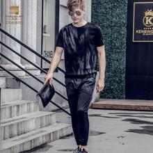Fanzhuan Бесплатная Доставка Новая мода случайные 2017 мужской мужской Летней с короткими рукавами футболка девятый брюки набор костюм 711020 черный тонкий