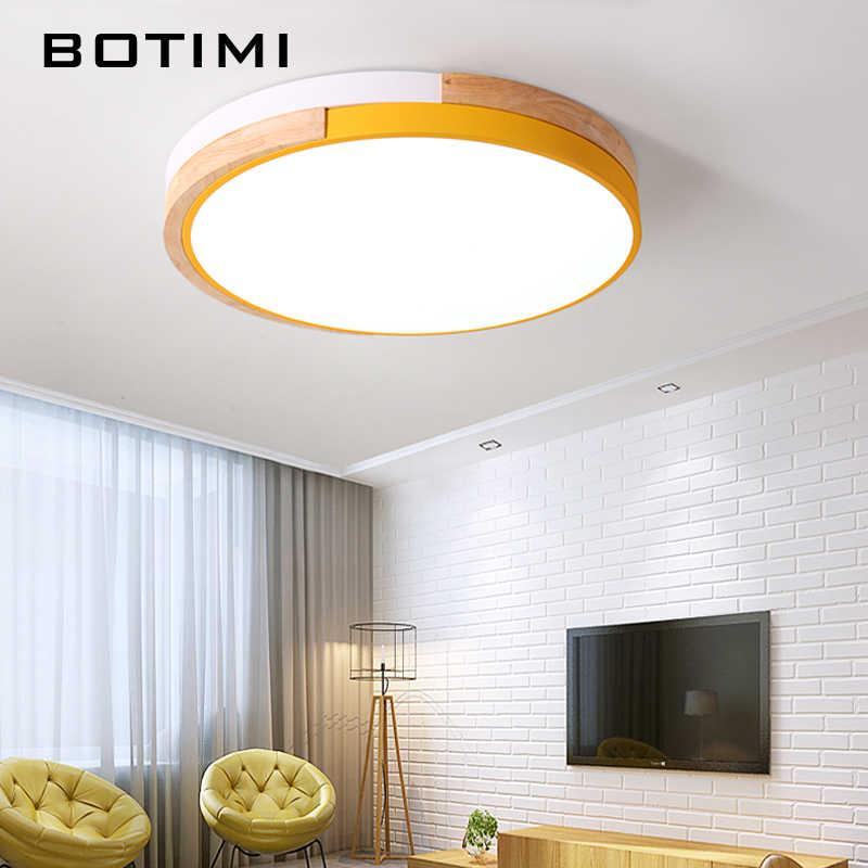 BOTIMI 220 V светодиодный Потолочные современные круглый потолочный деревянные лампы для Деревянный Кухня Светильник Красочные Номера лампы