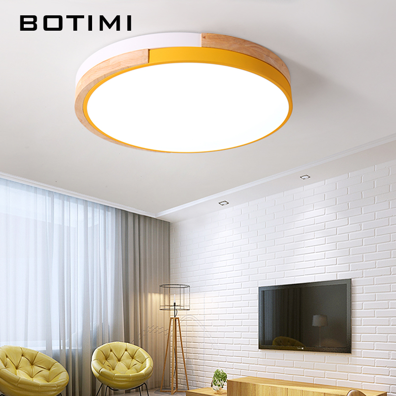 Fine Botimi New Design Led Ceiling Lights With Wood Frame For Bedroom 220v Modern Rooms Lighting Fixture White Round Ceiling Lamp A Great Variety Of Models Ceiling Lights & Fans