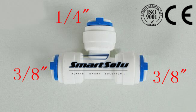 Free Shipping 38 - 14 splitter tube OD Hose Type T qucik connection RO Water Connector Fittings Reverse Aquarium System