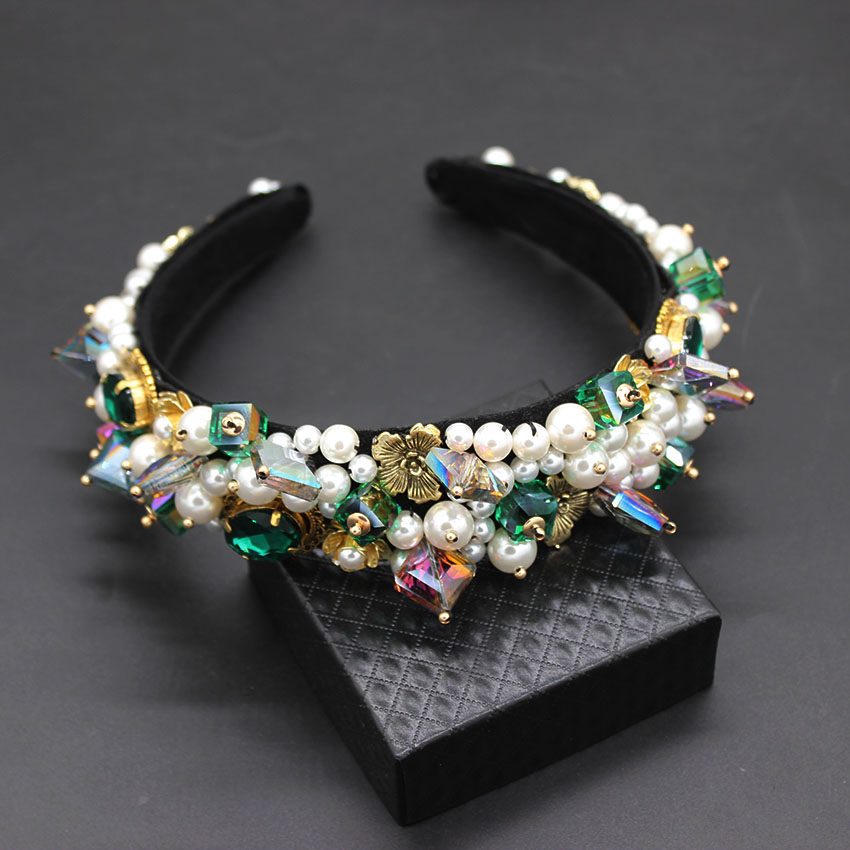 Personality street style headband Baroque exaggerated crystal pearls with headband catwalk dance multicolor headband 903 -in Hair Jewelry from Jewelry & Accessories on Aliexpress.com | Alibaba Group