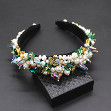 Personality street style headband Baroque exaggerated crystal pearls with headband catwalk dance multicolor headband 903