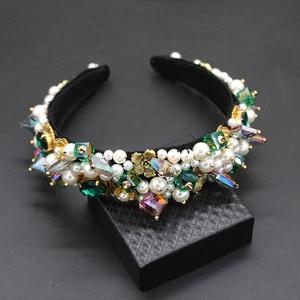 Image 1 - Personality street style headband Baroque exaggerated crystal pearls with headband catwalk dance multicolor headband 903