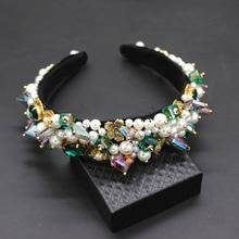 Persoonlijkheid street style hoofdband Barokke overdreven crystal parels met hoofdband catwalk dance multicolor hoofdband 903