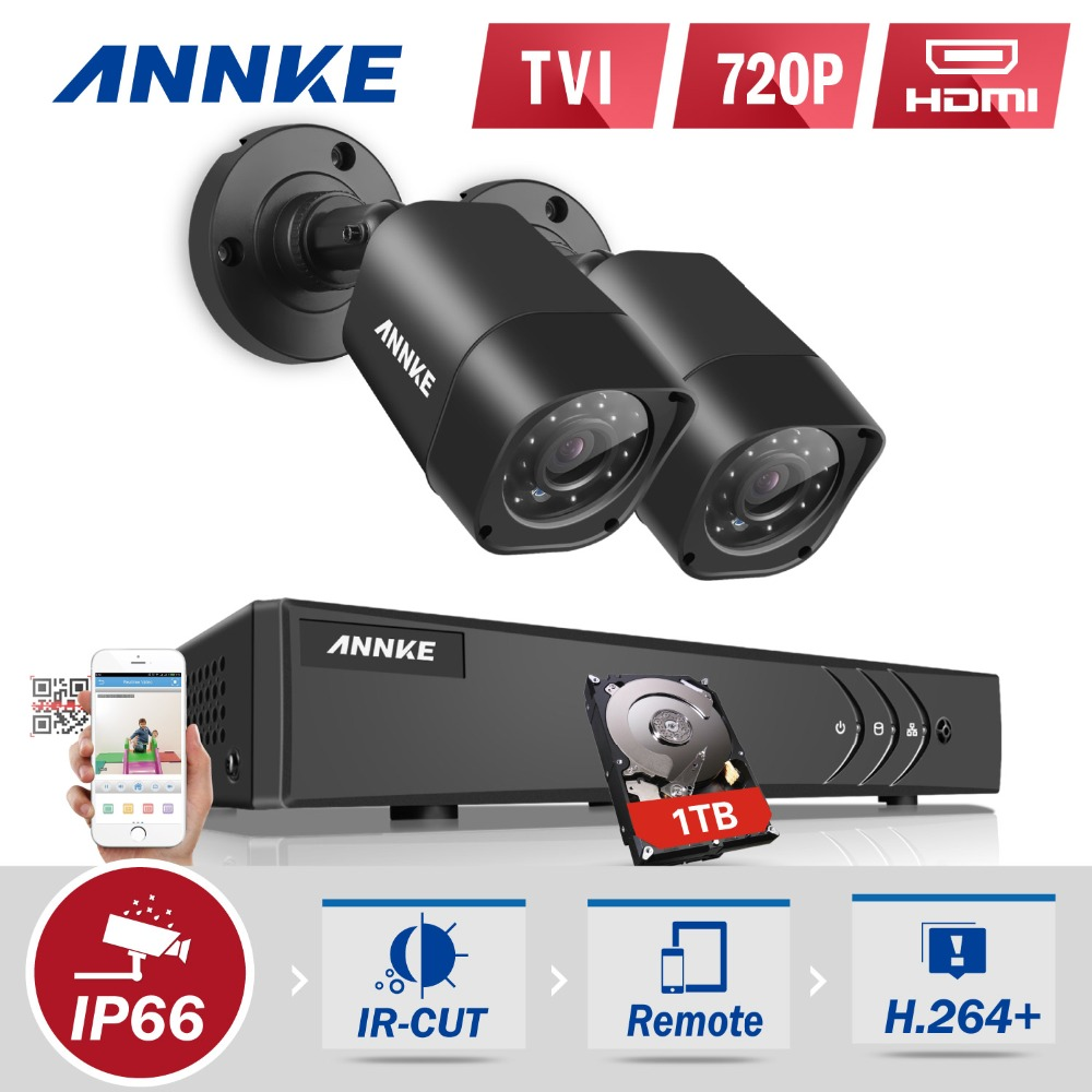 ANNKE 4CH Full HD 1080N 4IN1 DVR CCTV Camera System 720P TVI Security Cameras p2p Outdoor Waterproof Surveillance kit 1TB HDD
