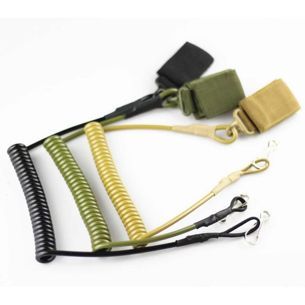 Multi-funcional táctico Anti-pérdida al aire libre ejército ventilador resorte pistola cuerda elástica