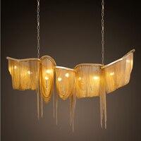 Золотая большая роскошная современная алюминиевая кисточка металлическая светодиодная Подвесная лампа для дома, зала, отеля, модная домаш