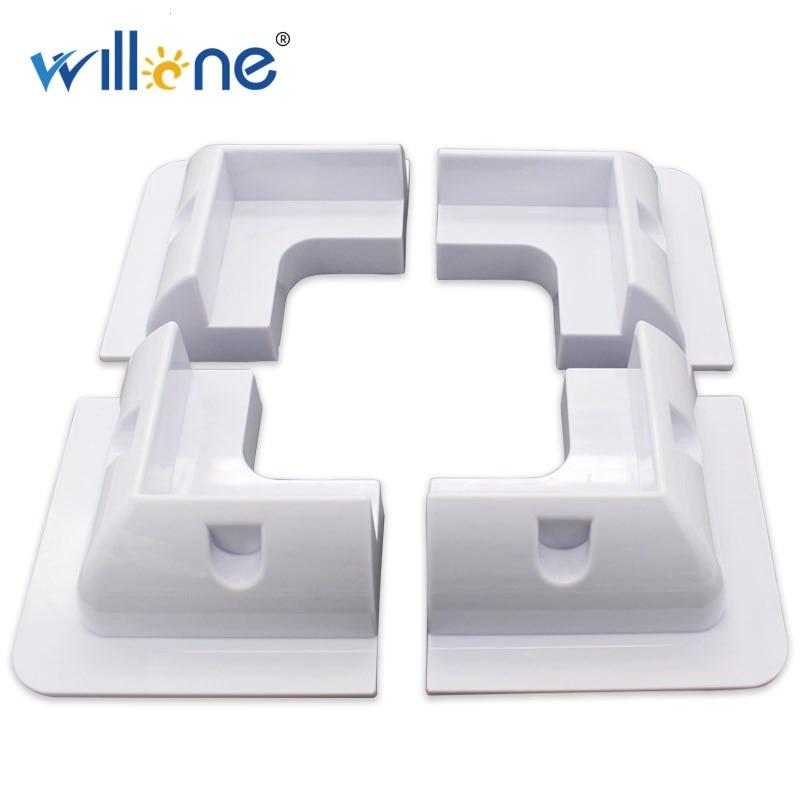 Willone solar panel mounting bracket white square set kit adhesive bond 4 piece