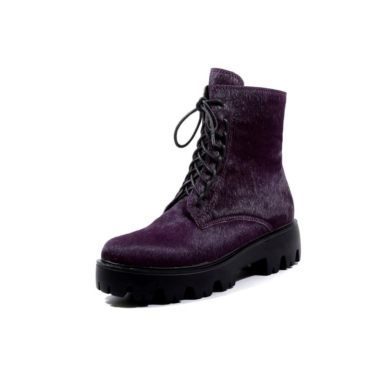 purple Chaussures Réel Bout Black Bottes Liée Cuir Femme Égérie Plate Red rose Croix Crin Mode Arrondi Bottines Femmes Véritable forme D'hiver 1nfBwUf
