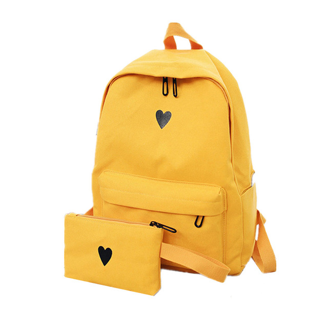 2019 High Quality Canvas Printed Heart Yellow Backpack Korean Style  Students Travel Bag Girls School Bag Laptop Backpack Y234 b770df5077744
