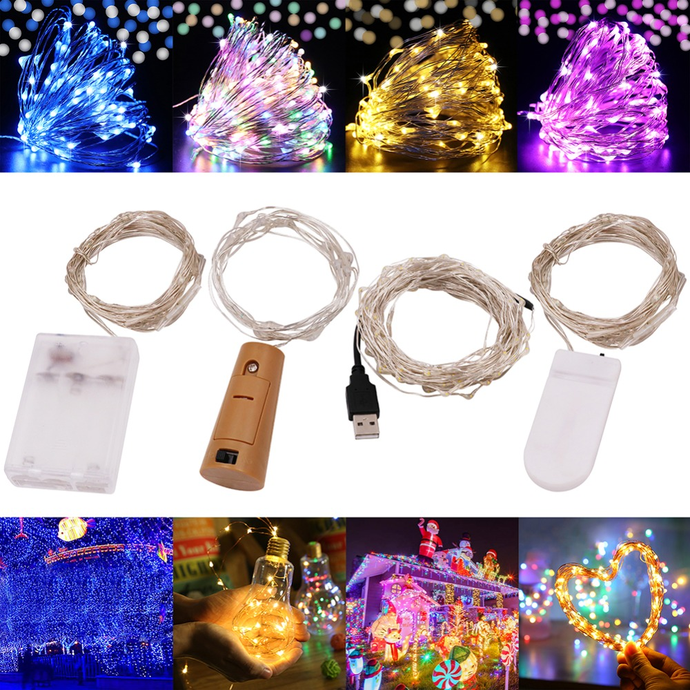 USB AA Battery Waterproof LED Silver Wire String Light Holiday Outdoor Fairy Lights Christmas Party Wedding Decoration Xmas Lamp