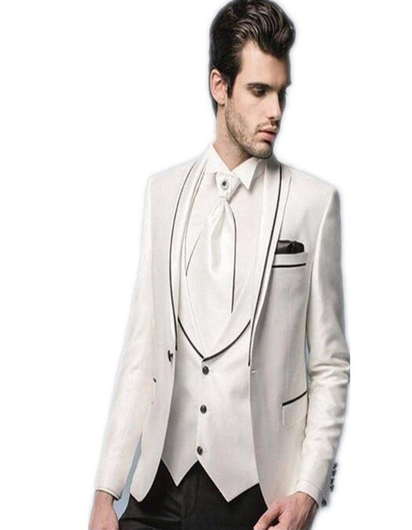 Fashionable One Button Ivory Groom Tuxedos Groomsmen Mens ...