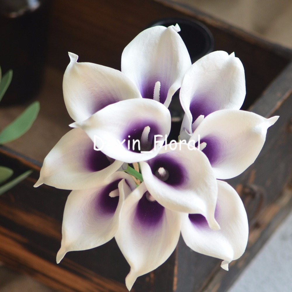 Royal purple picasso calla lilies real touch flowers for silk royal purple picasso calla lilies real touch flowers for silk wedding bouquets bridal bouquets artificial calla lily in artificial dried flowers from izmirmasajfo
