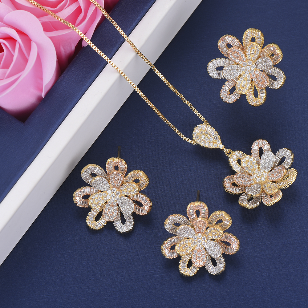 Trendy bridal jewelry sets Flower Shape Cubic Zirconia Indian Wedding Necklace Earrings Resizable Ring Jewelry Sets For Women trendy faux pearl flower rhinestone shape cuff ring for women
