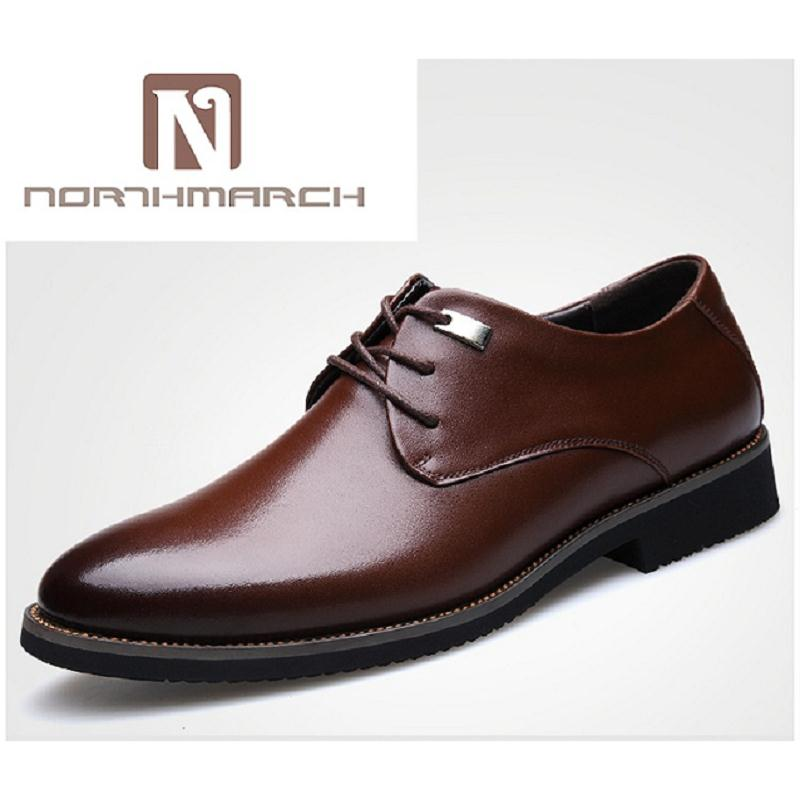 NORTHMARCH Men Flat Leather Men Shoes Oxfords Lace-Up Dress Shoes Men Business Casual Brown Formal Shoes For Man Schuhe Herren ch kwok graffiti newspaper print men casual leather shoes italy design buckles lace up men oxfords shoes for men low heel