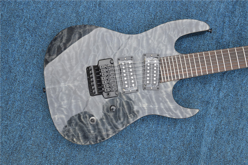 Custom shop New arrival 7 strings guitar TOP quality guitar Free shipping;quilted map top;black hardwaer free shipping