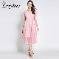 LADYBEES Wit Kant Jurk Roze kleur Elegant Diepe v-hals jurken Vrouwen Boog Bandage Prinses Party Vestidos 2018 Zomer gewaad nieuwe