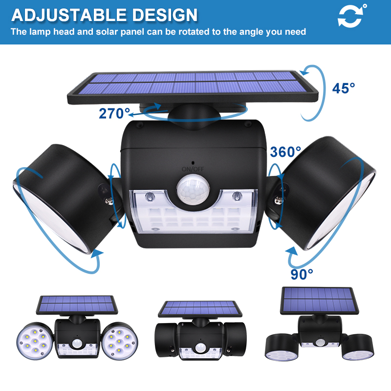 Dual Headed and Waterproof Solar Outdoor Light with 30 Adjustable Angled LED Lights for Garden and Street 2