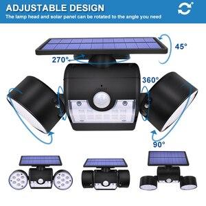Image 3 - 30led lampa słoneczna podwójna głowica lampa słoneczna PIR Motion Sensor Spotlight wodoodporna zewnętrzna z regulowanym kątem światła do ogrodu ściennego