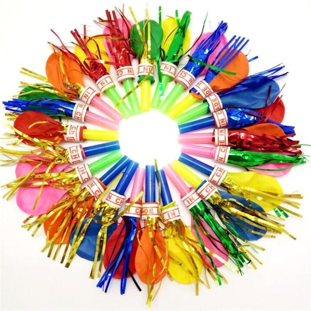 50 pcs Blowouts Apito Sopro do Dragão Com Globos de Balão Para A Decoração da Festa de Aniversário Crianças Brinquedo Suprimentos