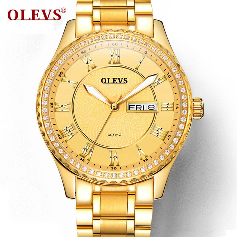 Watch Men Fashion Rhinestone Quartz Clock Mens Watches Top Brand Luxury Steel Business Waterproof Watch Luminous Date Week Clock цена и фото