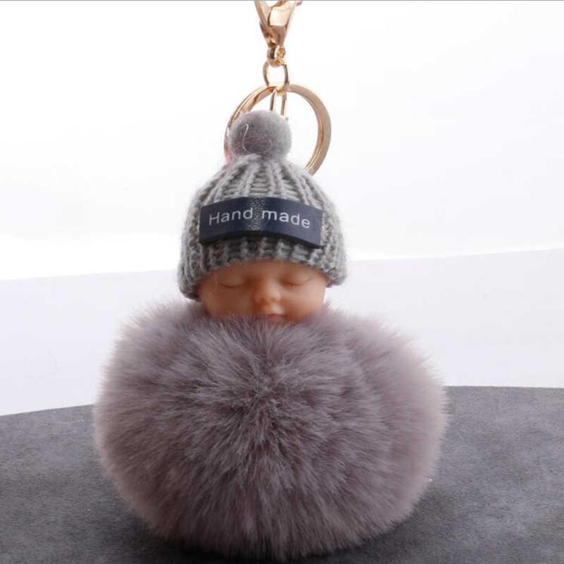 Nova Moda bebê Dormindo Fofo Pele pompom Chaveiro Coelho chaveiro Bola de Pêlo pompom porte clef chaveiro llaveros sleutelhanger