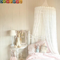 Nordic White Lace Girls Princess Dome Canopy Bed Curtains Round Kids Play Tent Room Decoration Baby