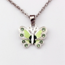 2pcs Green Enamel Butterfly Alloy Charms Pendant Necklaces Jewelry DIY 23.6 inches Chains A-504d